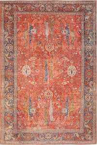 large animal motif antique tabriz persian rug 49271 Nazmiyal