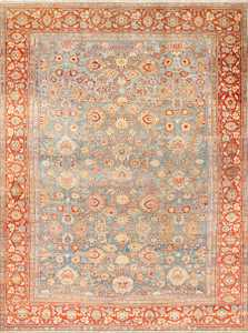 large blue antique sultanabad persian rug 49318 Nazmiyal