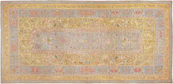 Late 17th Century Palace-Size Silk Indian Suzani Embroidery, Nazmiyal