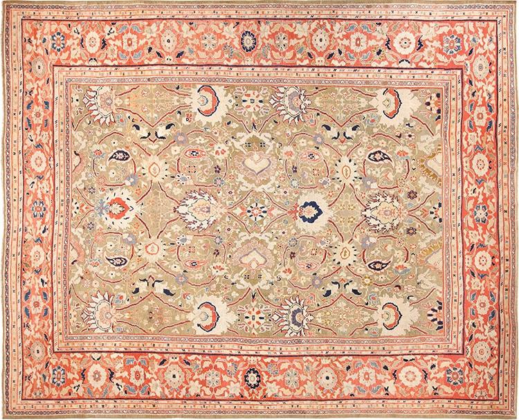 19th Century Qajar Dynasty Antique Sultanabad Persian Rug by Nazmiyal