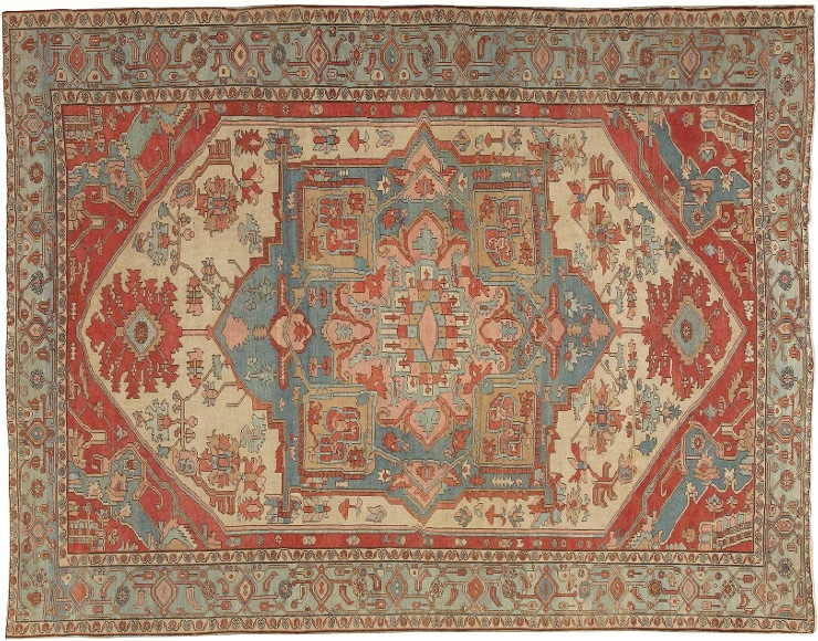 Persian Antique Serapi Carpet by Nazmiyal