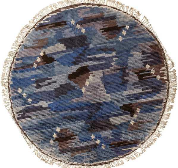 Round Blue Vintage Rya Scandinavian Rug, Nazmiyal