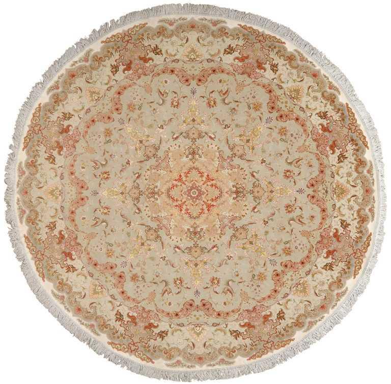 round fine vintage tabriz persian rug 51133 Nazmiyal