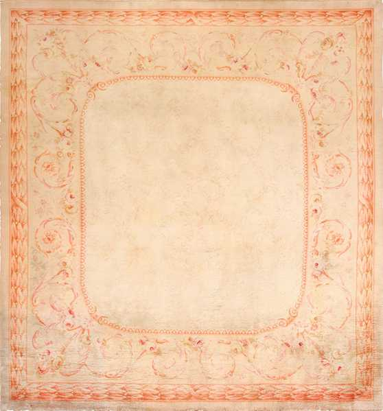 Square Antique French Savonnerie Rug, Nazmiyal