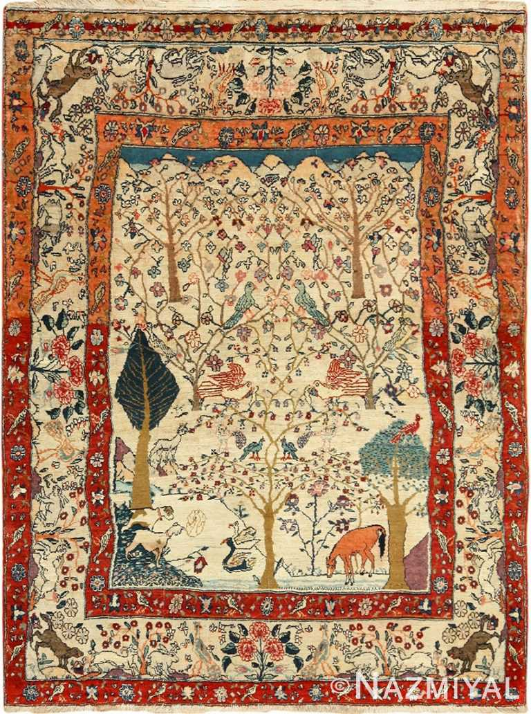 antique animal motif tehran persian rug 49303 Nazmiyal