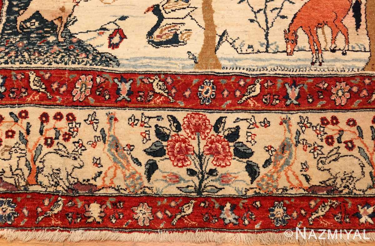 antique animal motif tehran persian rug 49303 border Nazmiyal