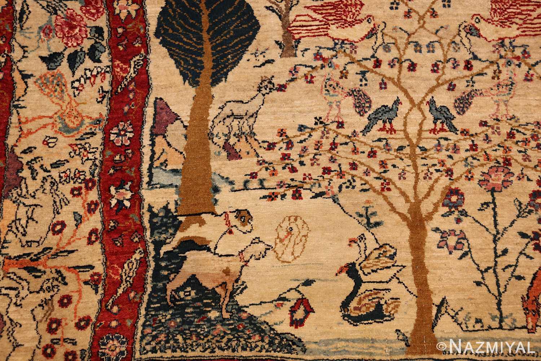 antique animal motif tehran persian rug 49303 dogs Nazmiyal