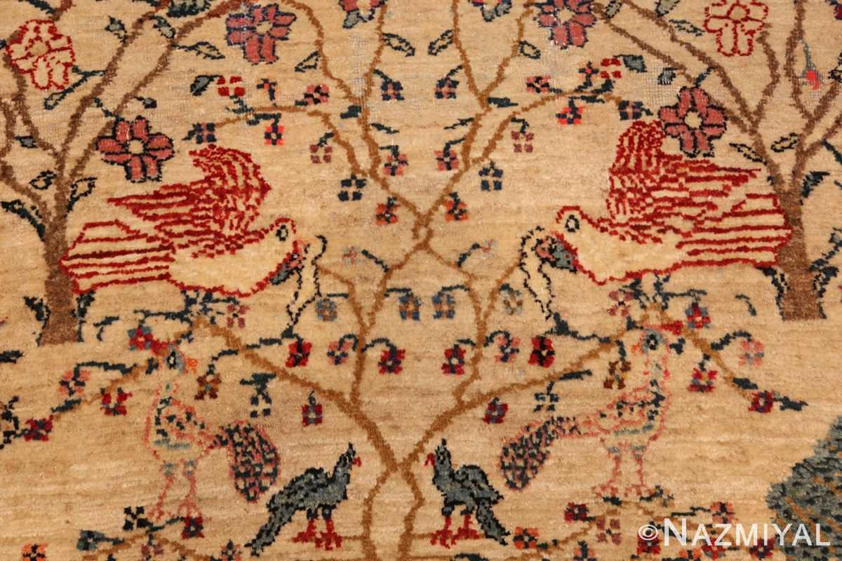 antique animal motif tehran persian rug 49303 dove Nazmiyal