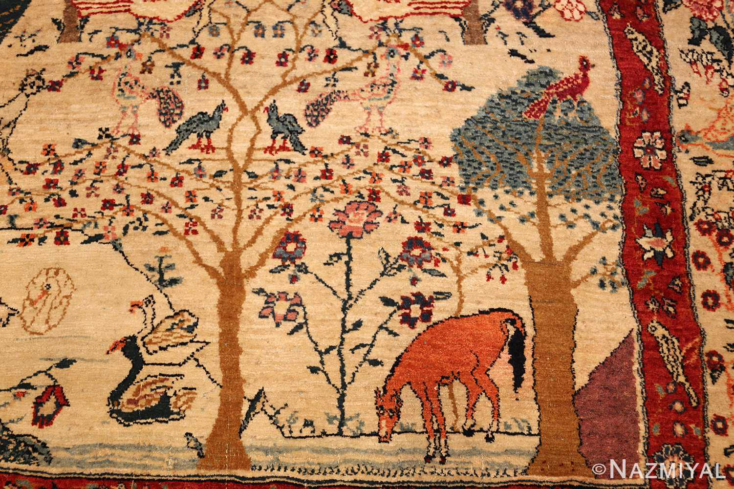 antique animal motif tehran persian rug 49303 horse Nazmiyal
