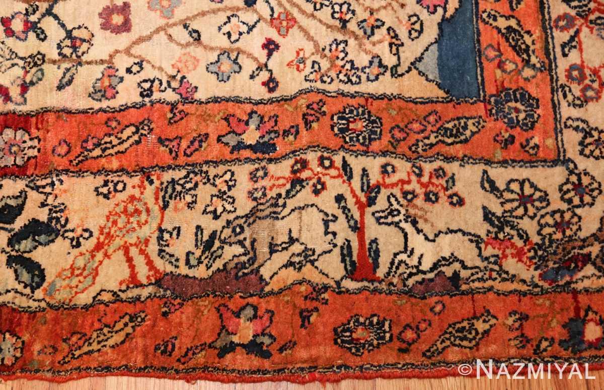 antique animal motif tehran persian rug 49303 rabbits Nazmiyal