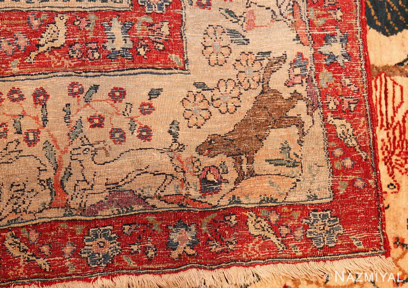 antique animal motif tehran persian rug 49303 weave Nazmiyal