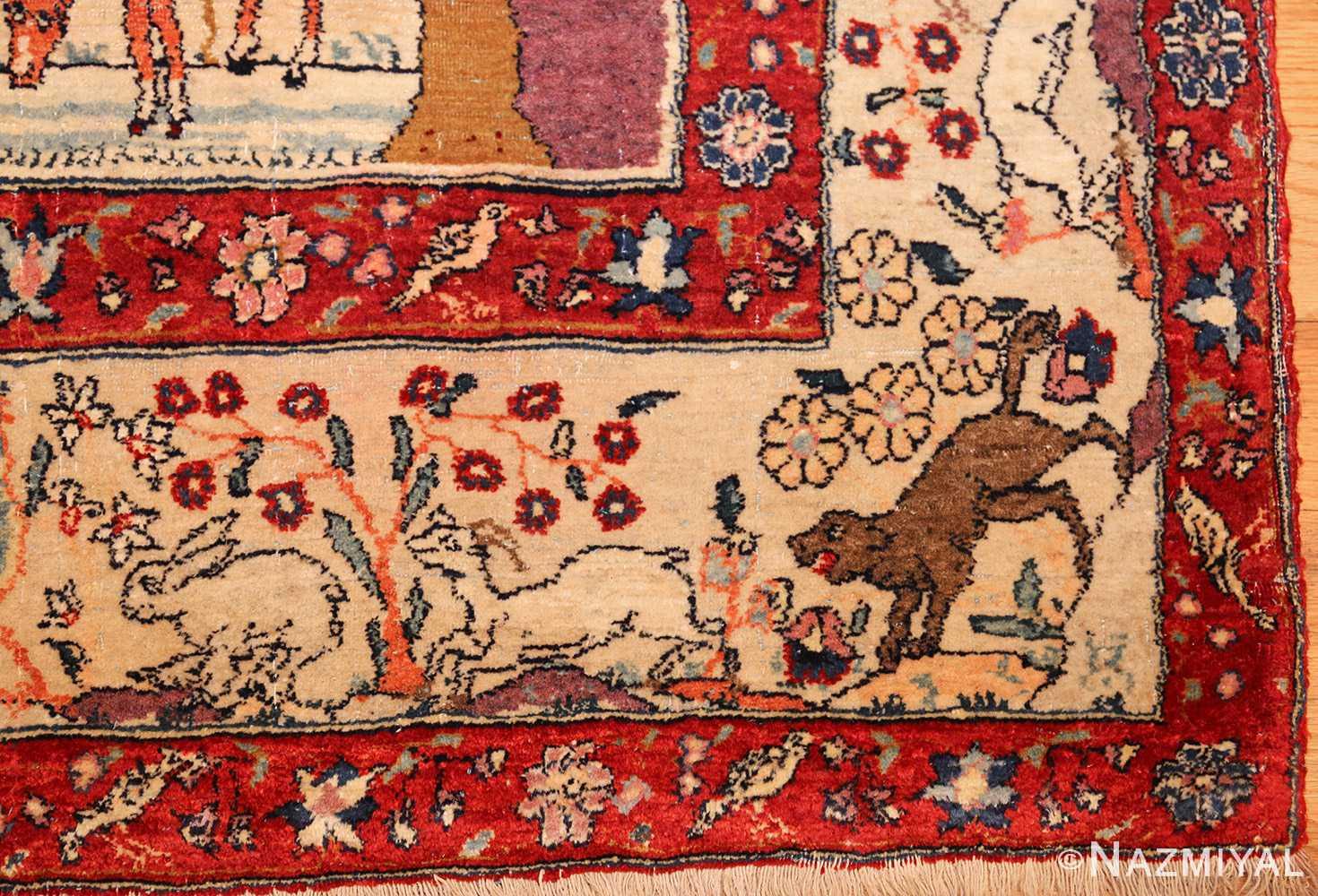 antique animal motif tehran persian rug 49303 wolf Nazmiyal
