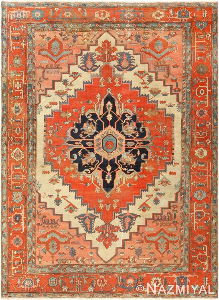 antique ivory background serapi persian rug 49352 Nazmiyal
