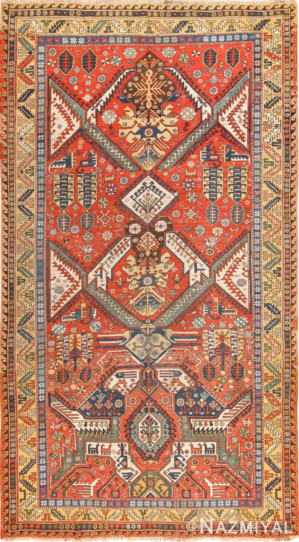 antique red background soumak caucasian rug 49341 Nazmiyal