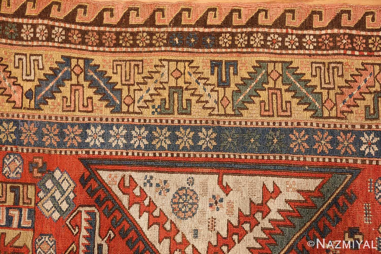 antique red background soumak caucasian rug 49341 border Nazmiyal
