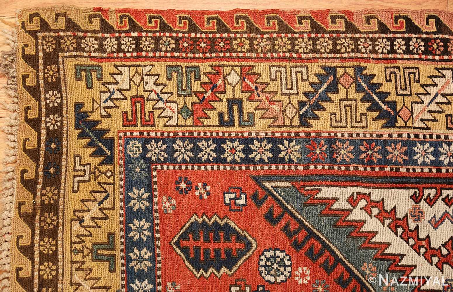 antique red background soumak caucasian rug 49341 corner Nazmiyal