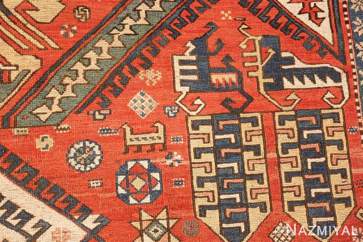 antique red background soumak caucasian rug 49341 design Nazmiyal
