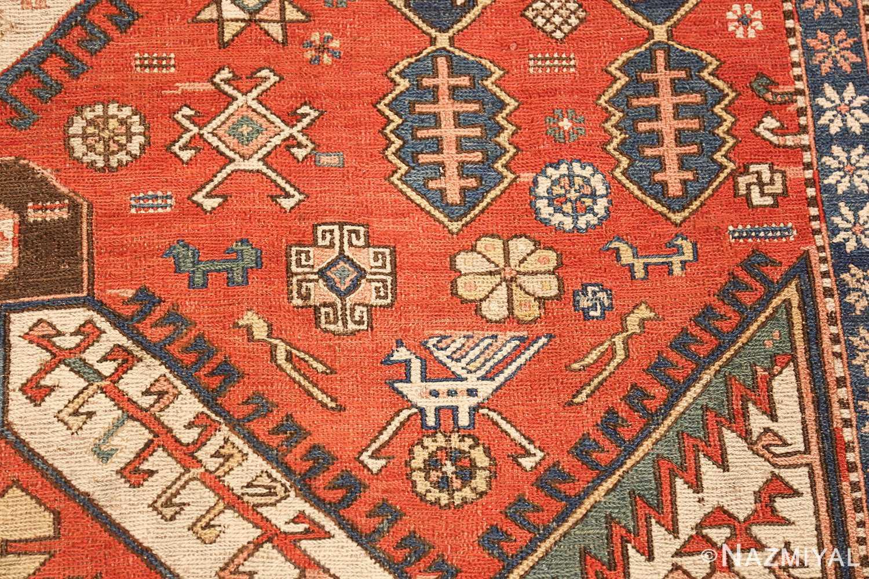 antique red background soumak caucasian rug 49341 dragon Nazmiyal