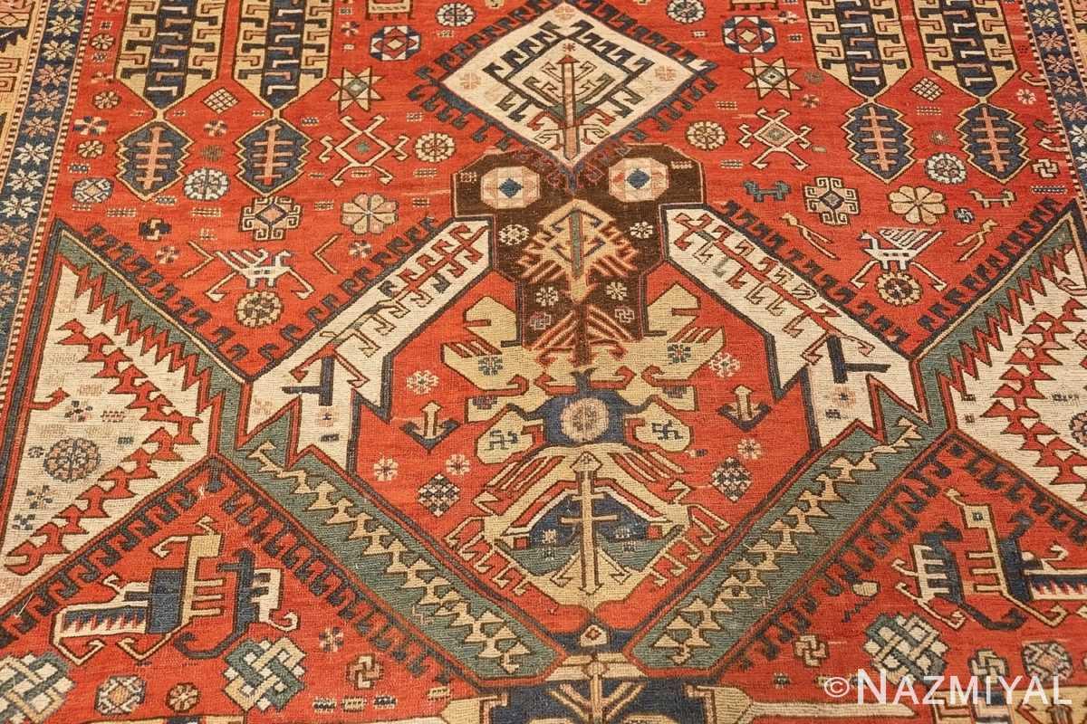 antique red background soumak caucasian rug 49341 medallion Nazmiyal