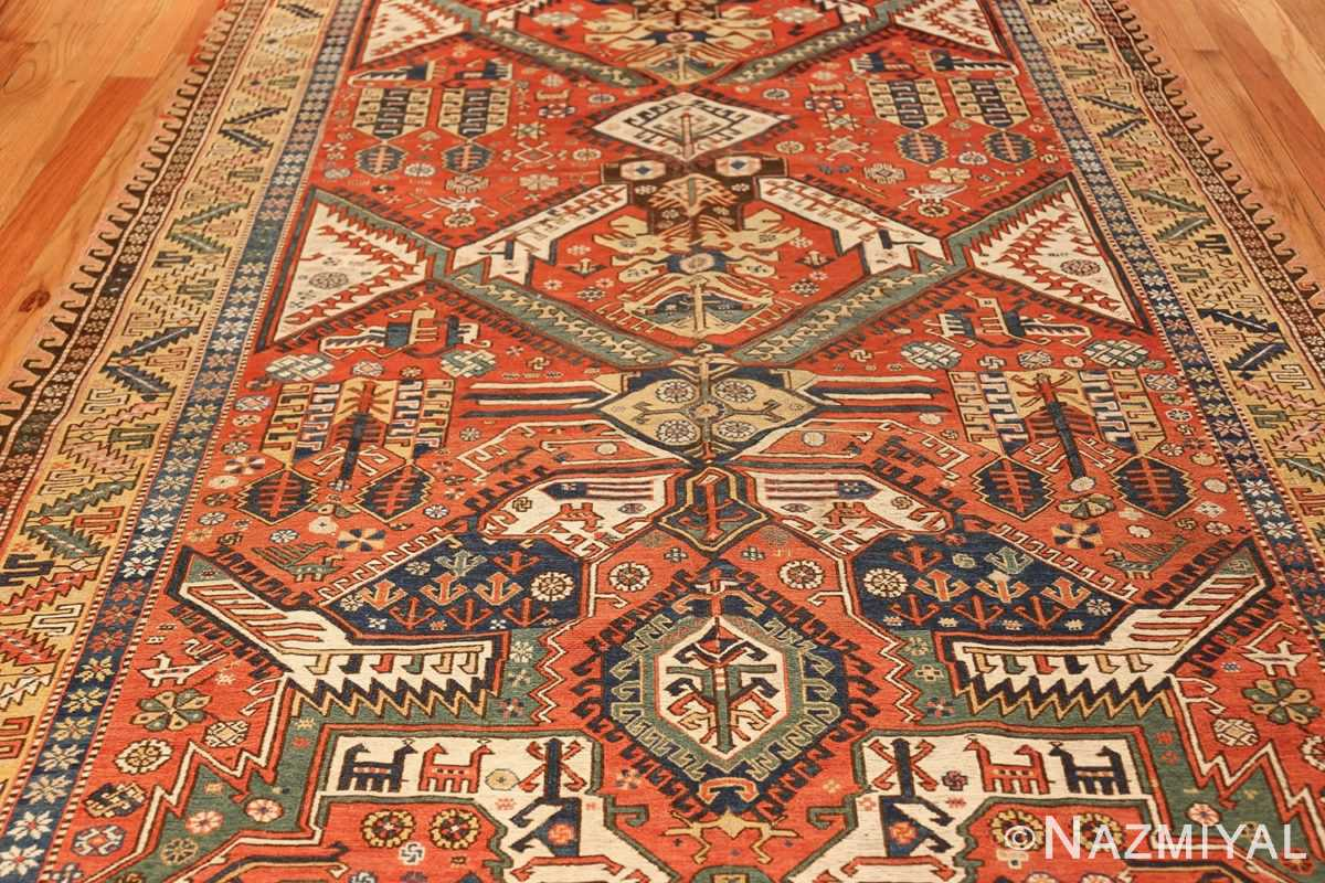 antique red background soumak caucasian rug 49341 middle Nazmiyal