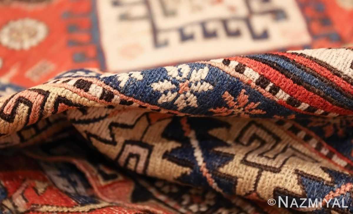 antique red background soumak caucasian rug 49341 pile Nazmiyal