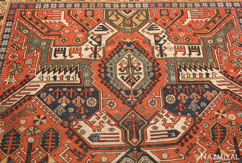 antique red background soumak caucasian rug 49341 top Nazmiyal