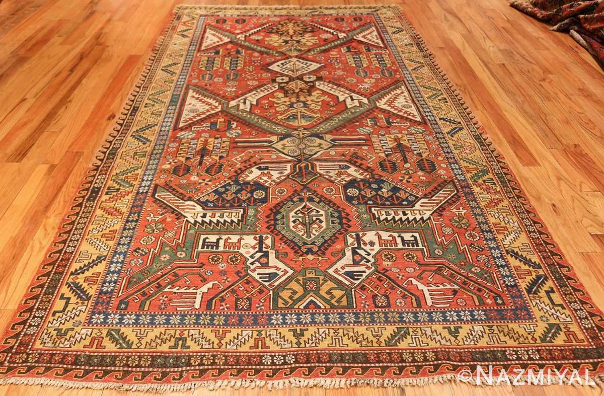 antique red background soumak caucasian rug 49341 whole Nazmiyal