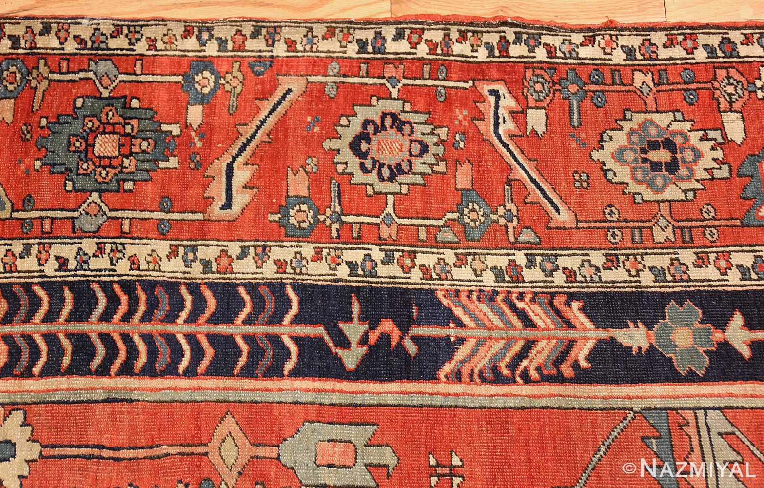 antique red serapi persian rug 49349 border Nazmiyal