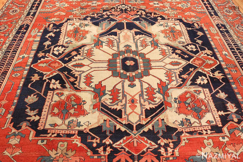 antique red serapi persian rug 49349 field Nazmiyal