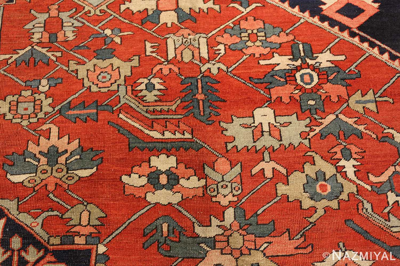 antique red serapi persian rug 49349 flowers Nazmiyal
