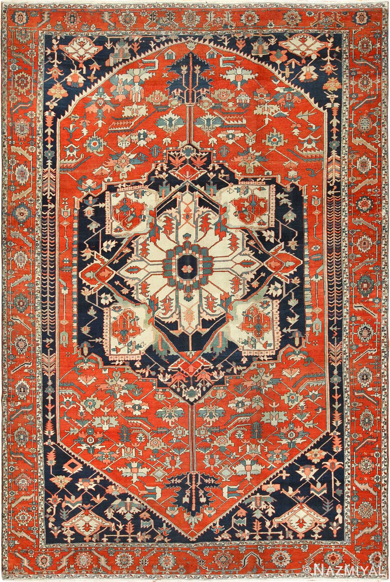 antique red serapi persian rug 49349 Nazmiyal