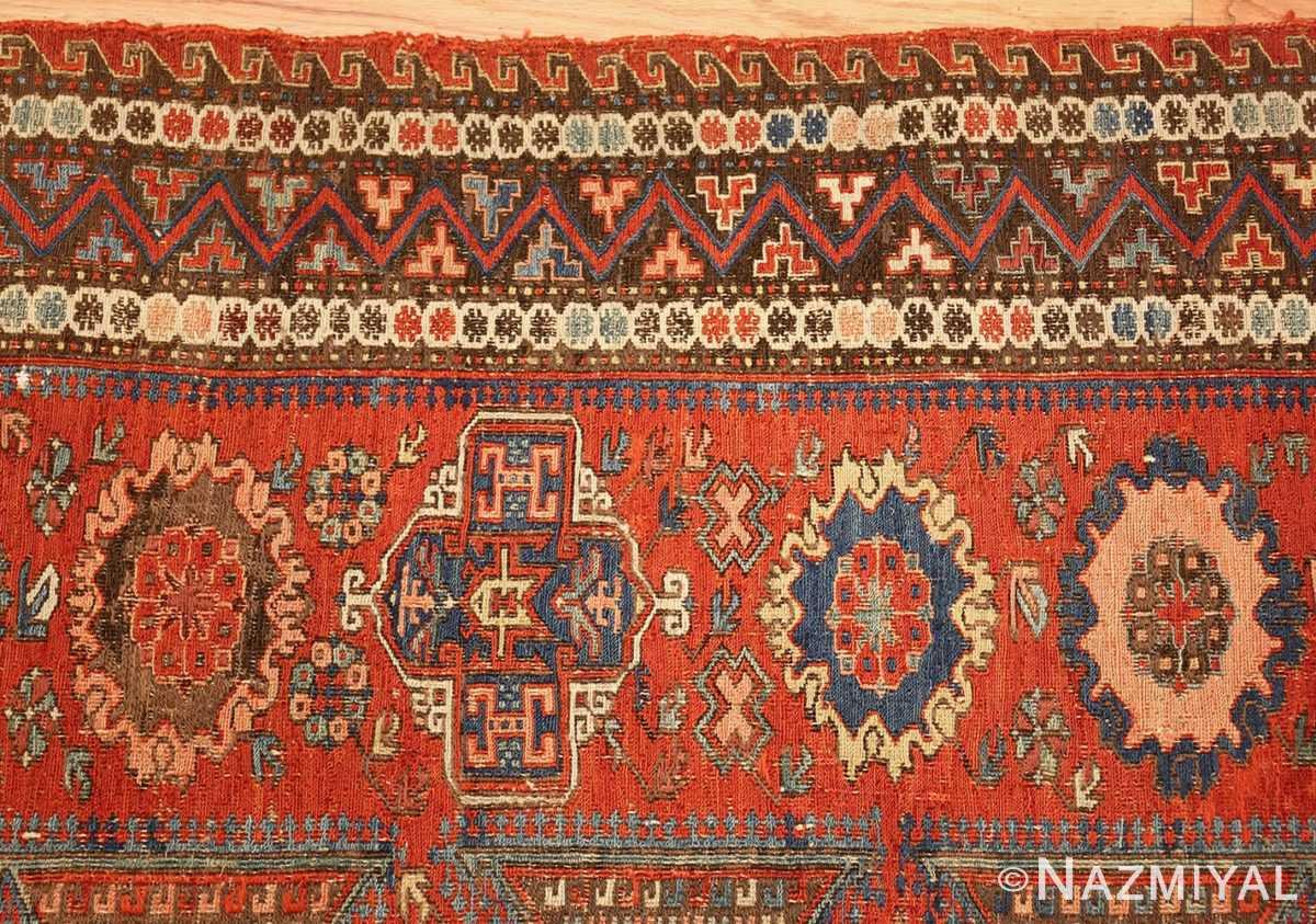 antique red soumak caucasian rug 49344 border Nazmiyal