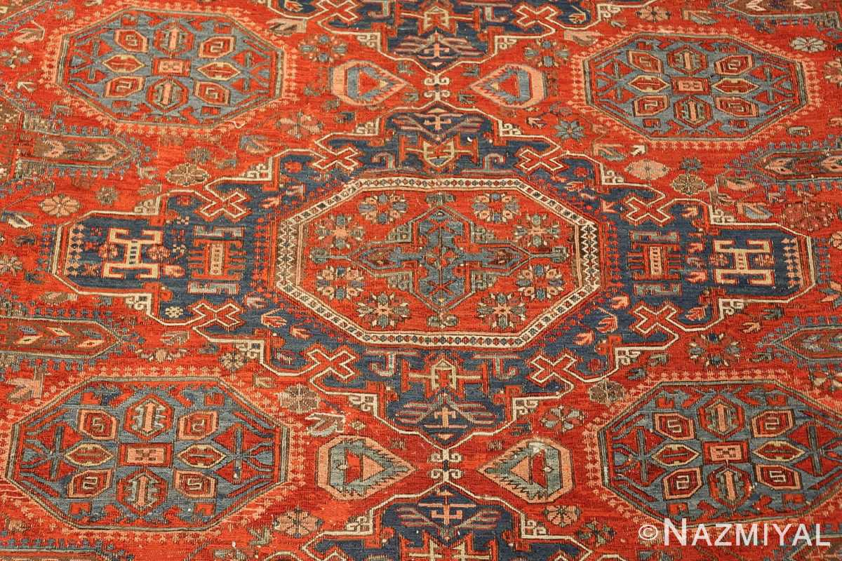 antique red soumak caucasian rug 49344 medallion Nazmiyal
