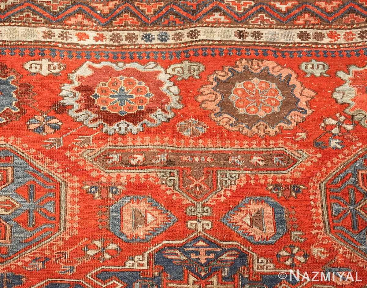 antique red soumak caucasian rug 49344 top Nazmiyal