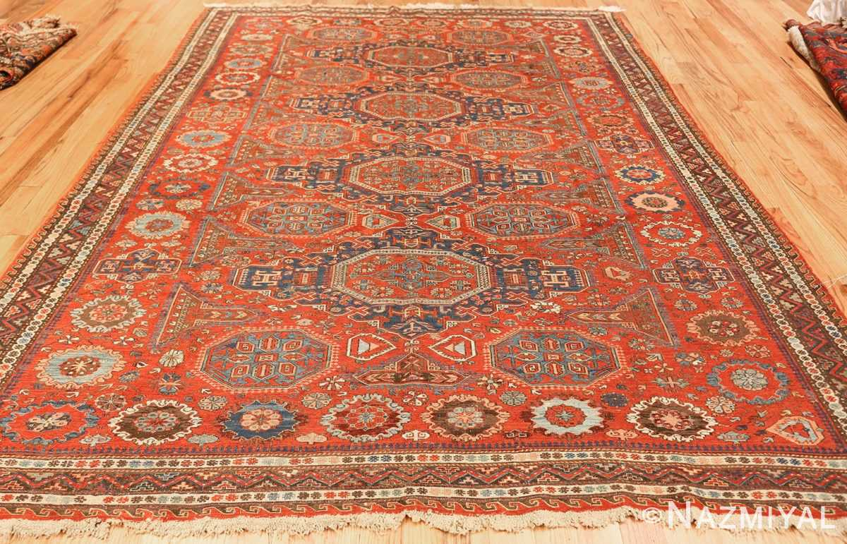 antique red soumak caucasian rug 49344 weave Nazmiyal