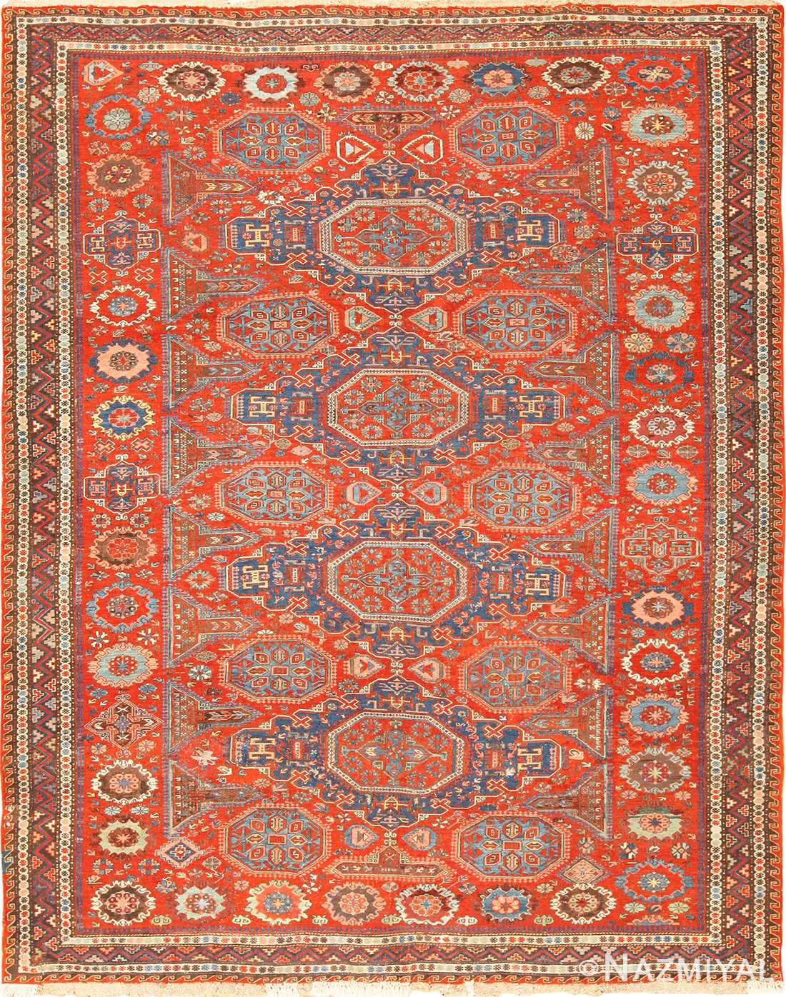 antique red soumak caucasian rug 49344 Nazmiyal