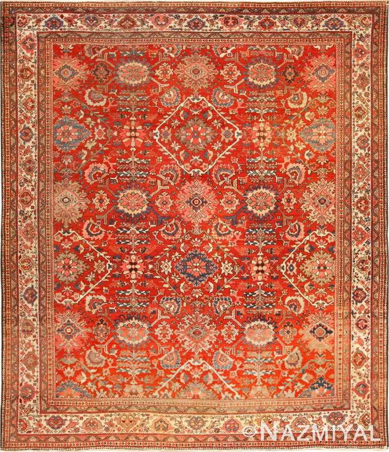 antique red sultanabad persian rug 49337 Nazmiyal