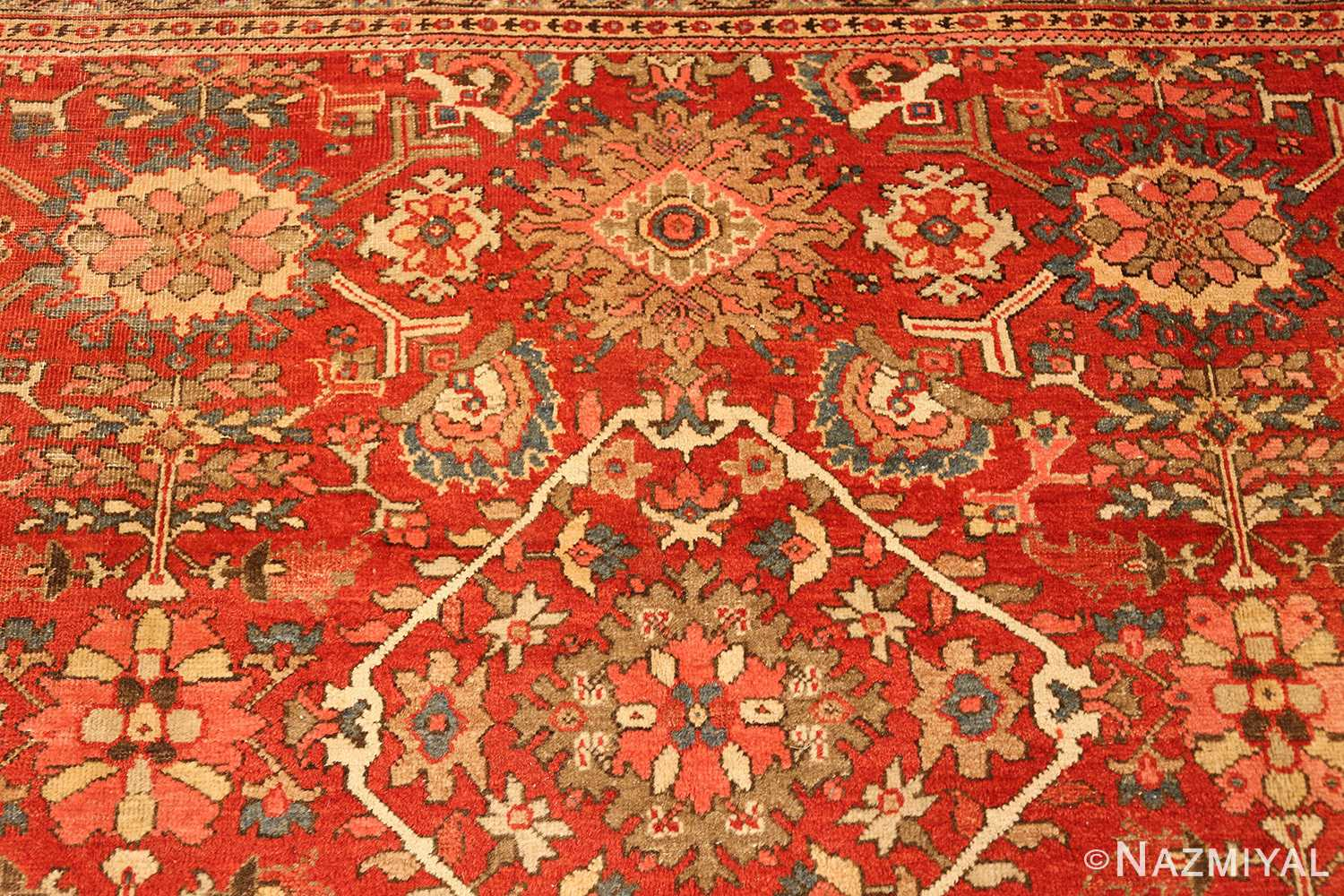 antique red sultanabad persian rug 49337 top Nazmiyal