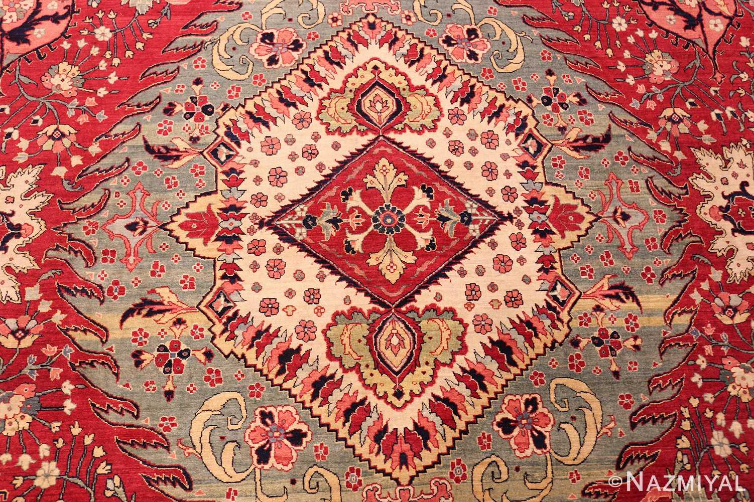 antique red tabriz persian rug 49348 center Nazmiyal