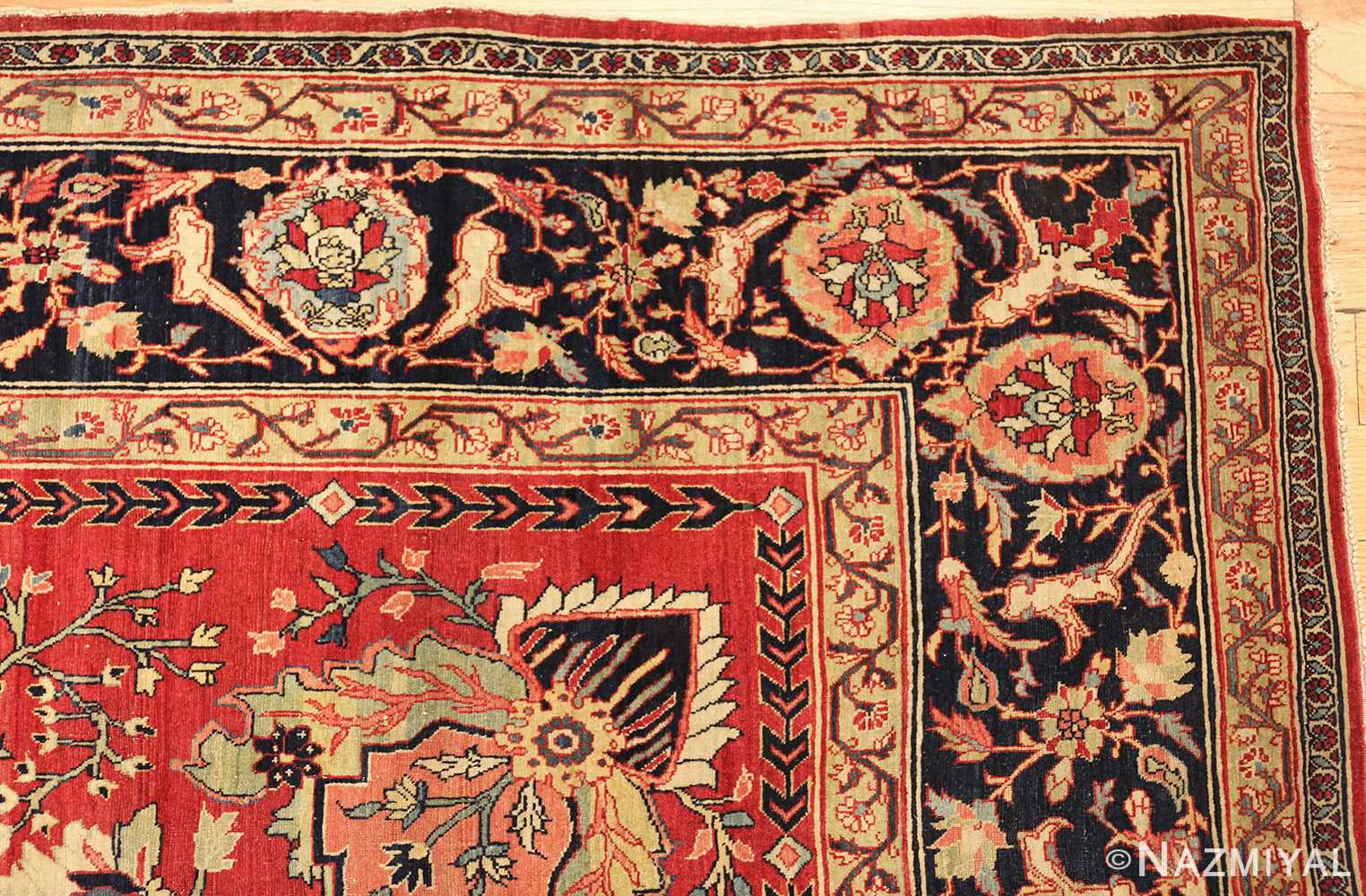 antique red tabriz persian rug 49348 corner Nazmiyal