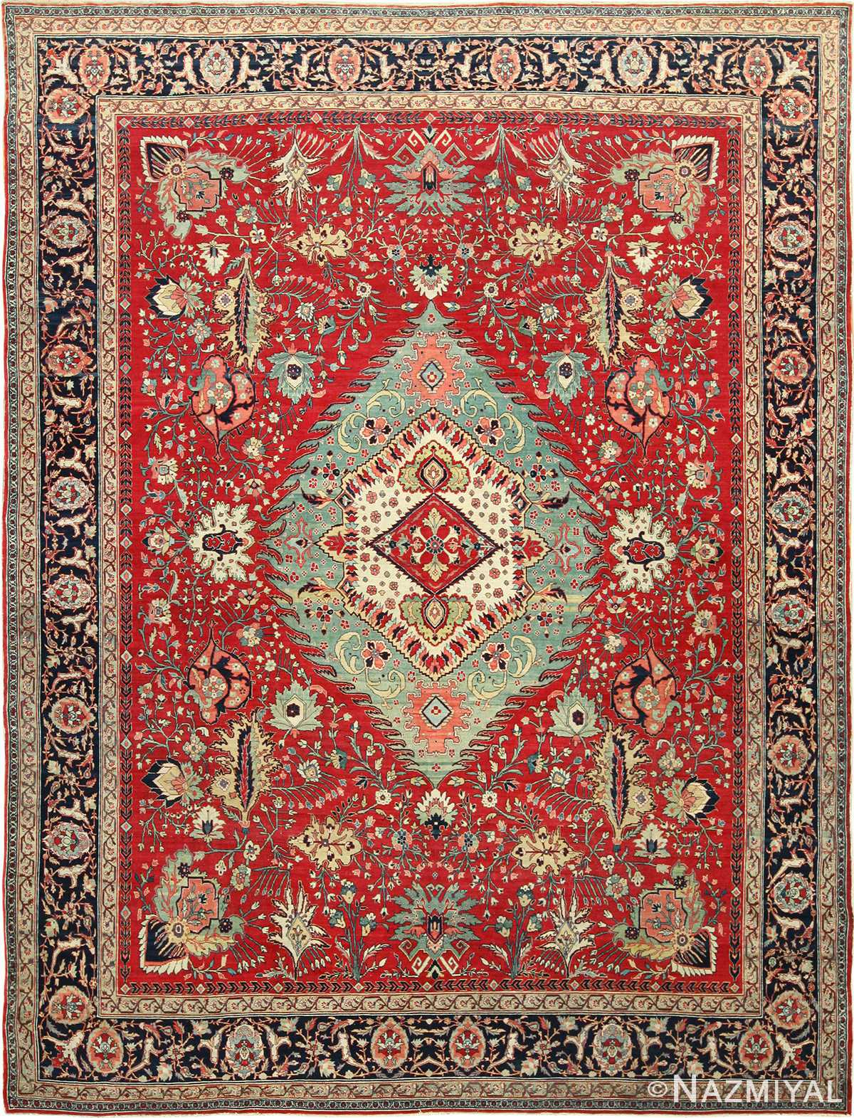 antique red tabriz persian rug 49348 Nazmiyal