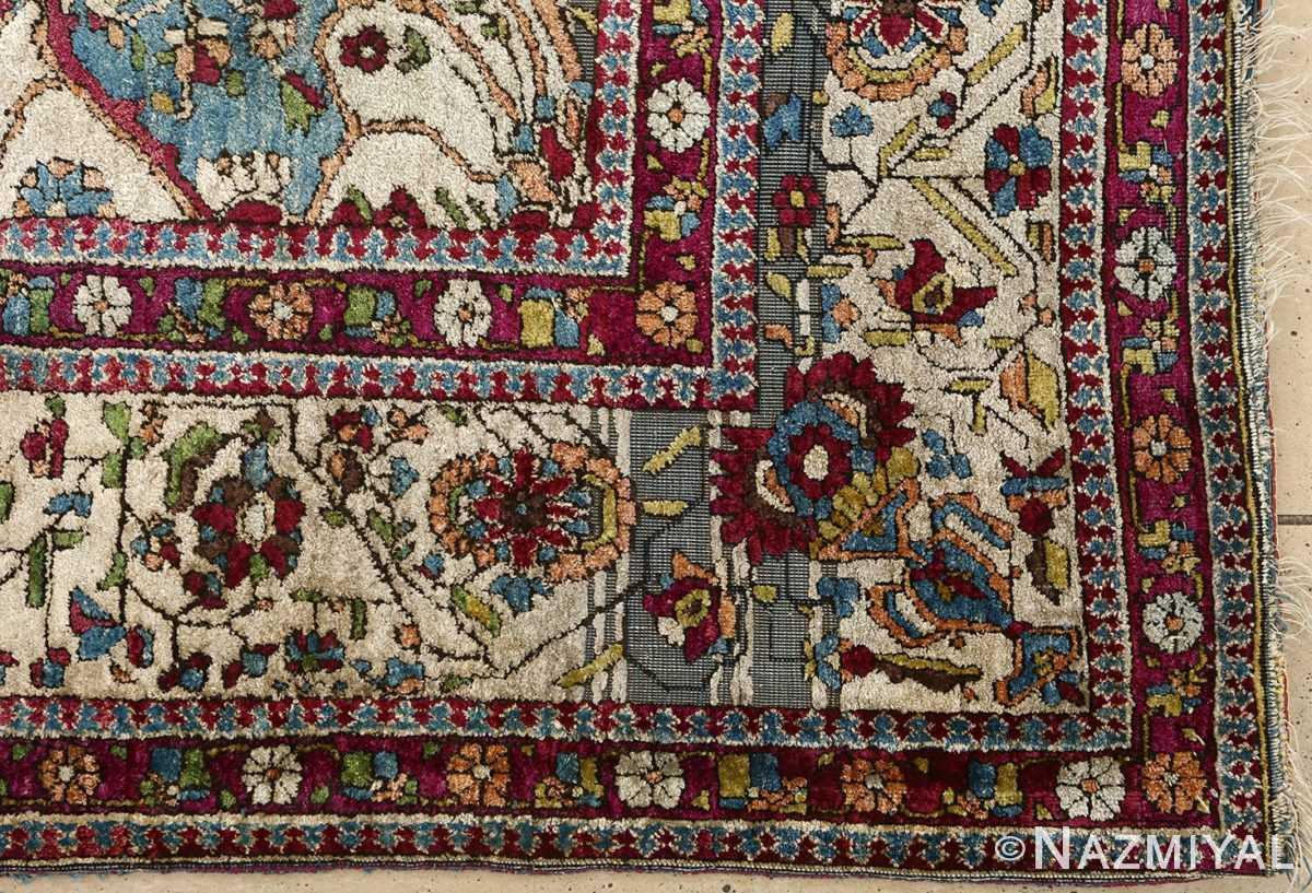 antique silk mohtasham kashan persian rug 51168 corner Nazmiyal