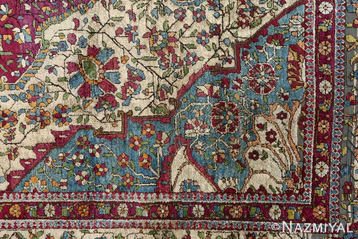 antique silk mohtasham kashan persian rug 51168 flowers Nazmiyal