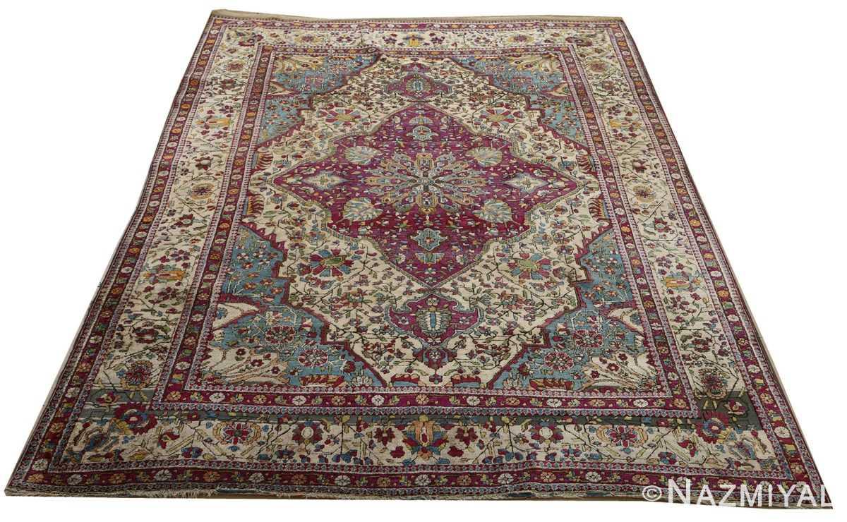 antique silk mohtasham kashan persian rug 51168 full