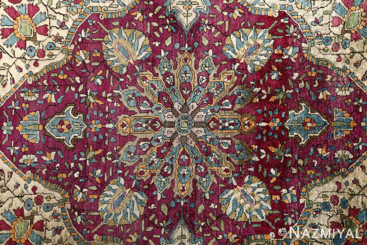 antique silk ohtasham kashan persian rug 51168 medallion Nazmiyal