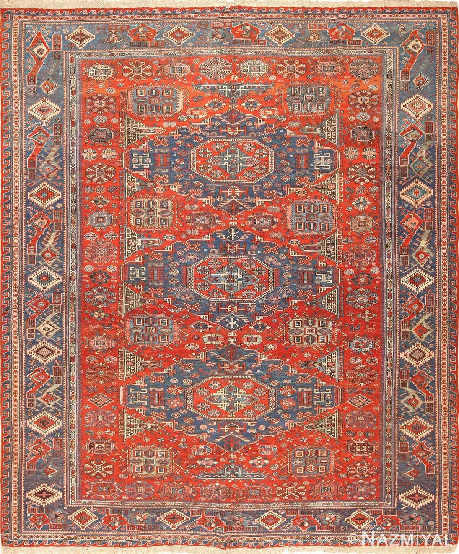 antique tribal soumak caucasian rug 49342 Nazmiyal