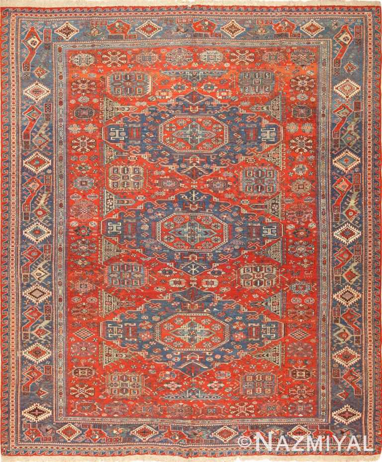 antique tribal soumak caucasian rug 49342 Nazmiyal