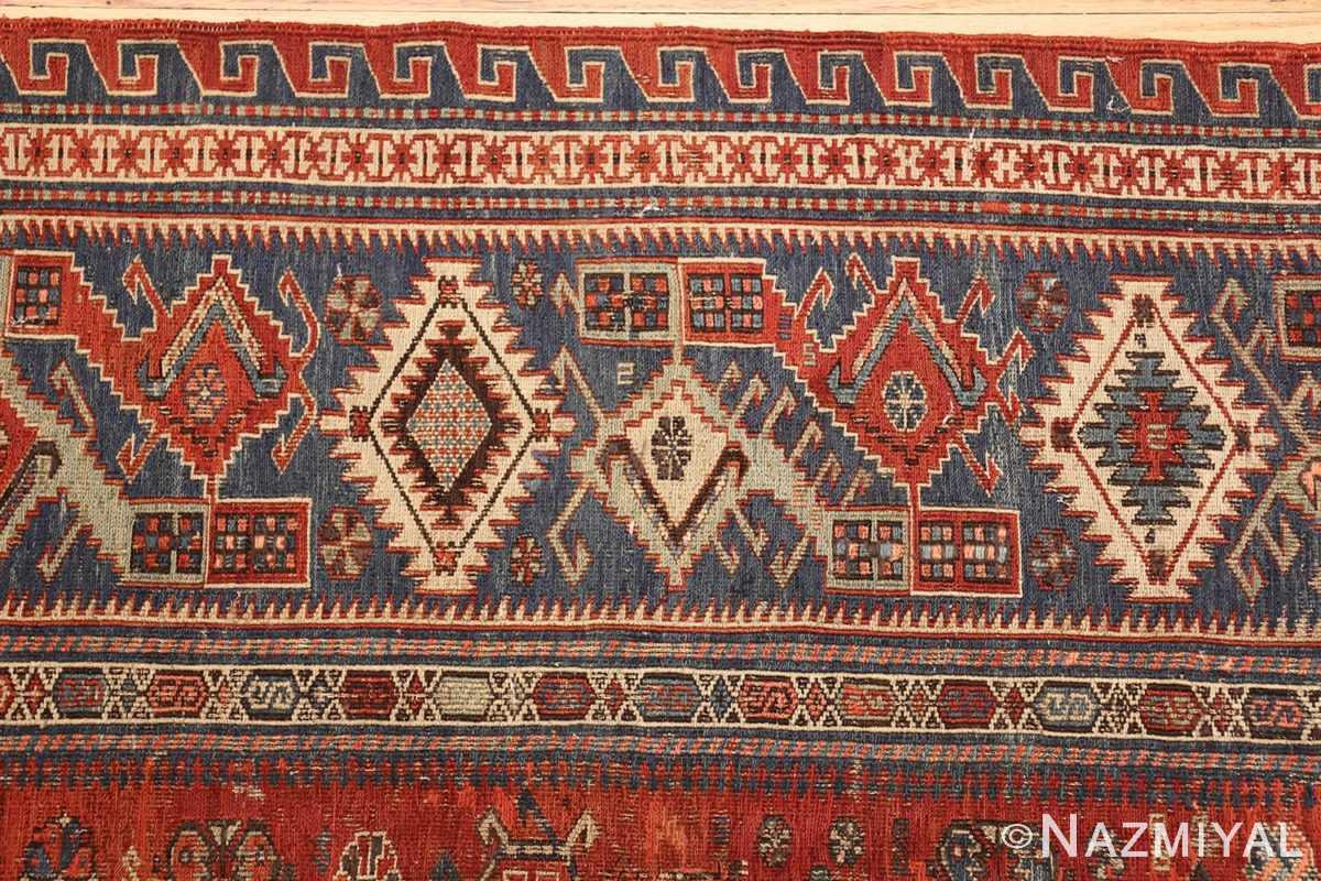 antique tribal soumak caucasian rug 49342 border Nazmiyal