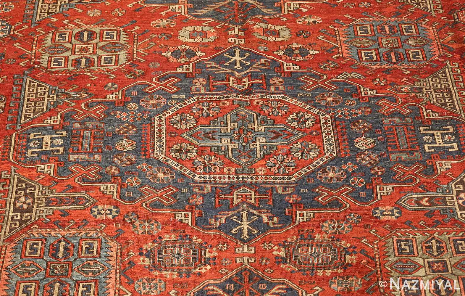 antique tribal soumak caucasian rug 49342 medallion Nazmiyal