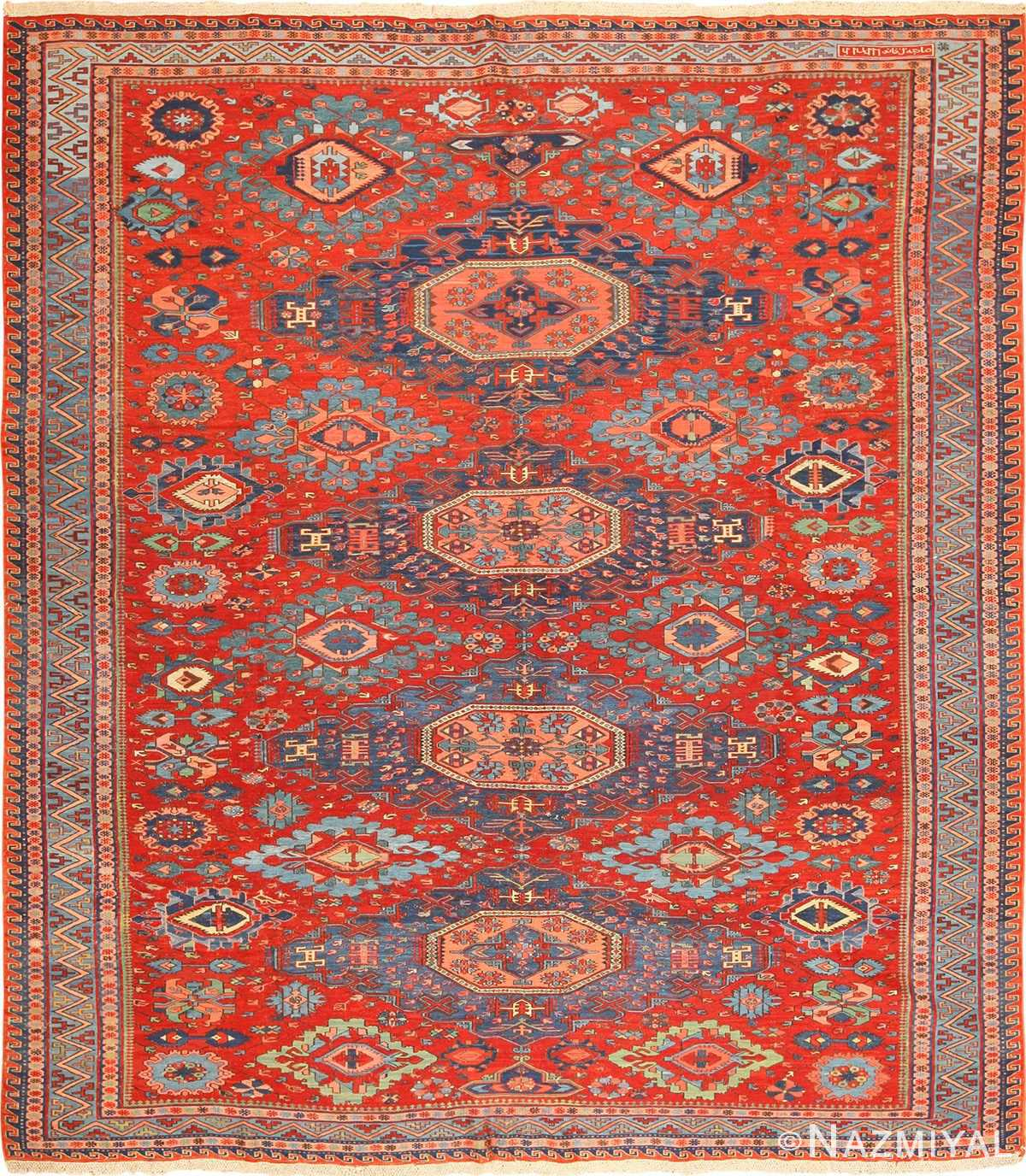 antique tribal soumak caucasian rug 49345 Nazmiyal